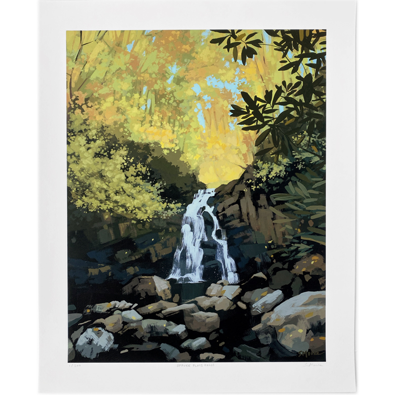 Limited edition print of Spruce Flats Falls by Knoxville artist Sarah Moore