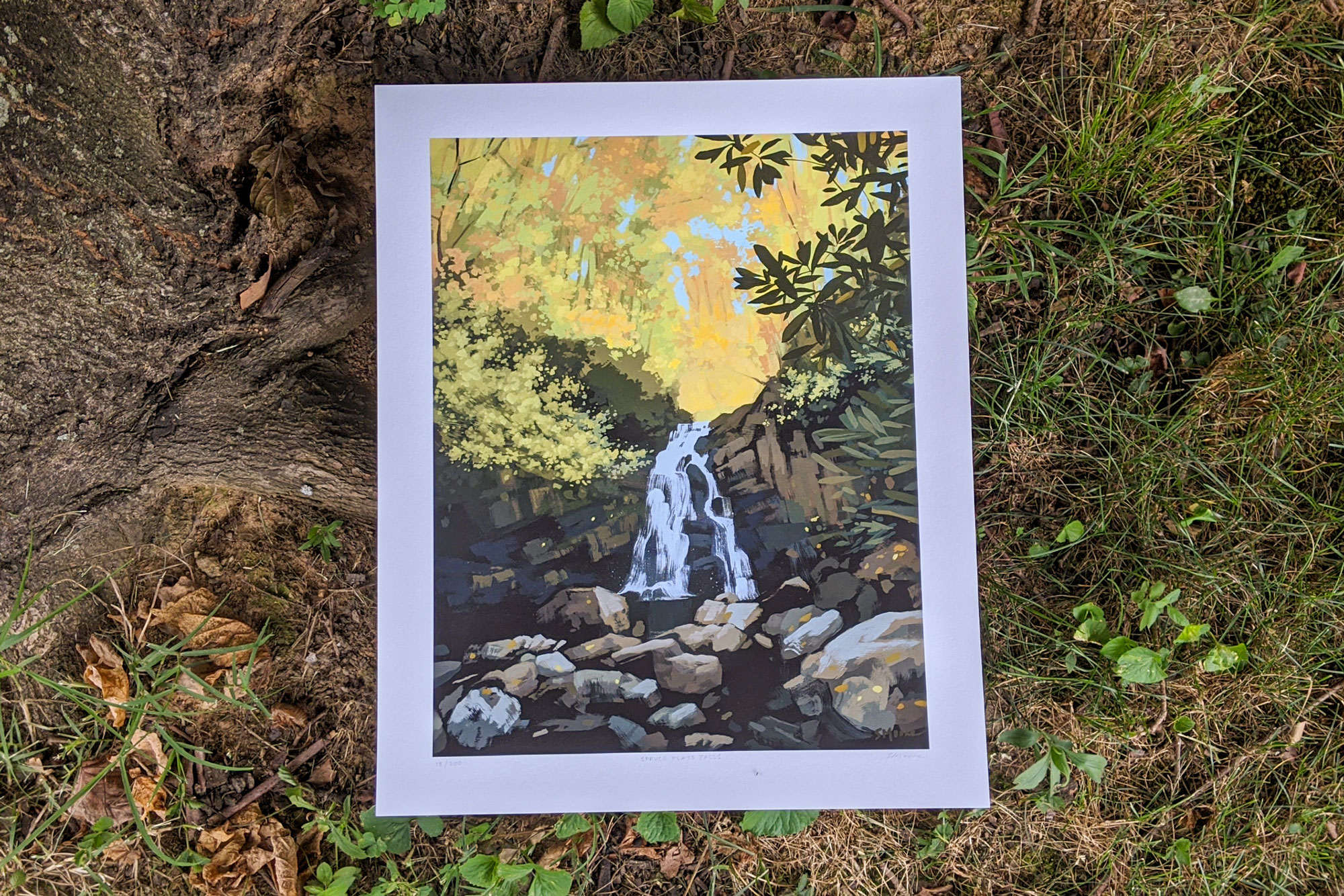 Limited edition art print of Spruce Flats Falls by artist Sarah Moore