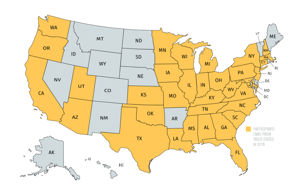 Map of the United States highlighting states in yellow where Tremont participants came from in 2019