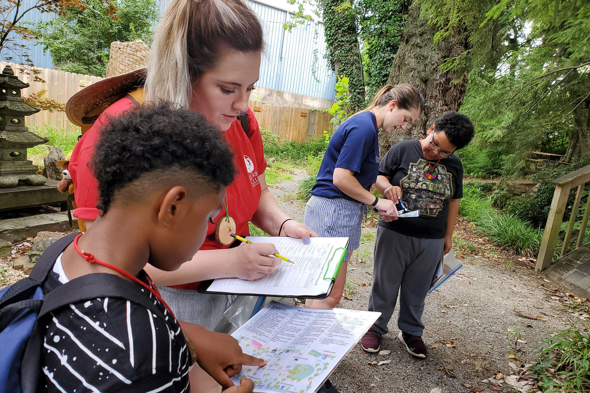 Teachers and students learn outdoors