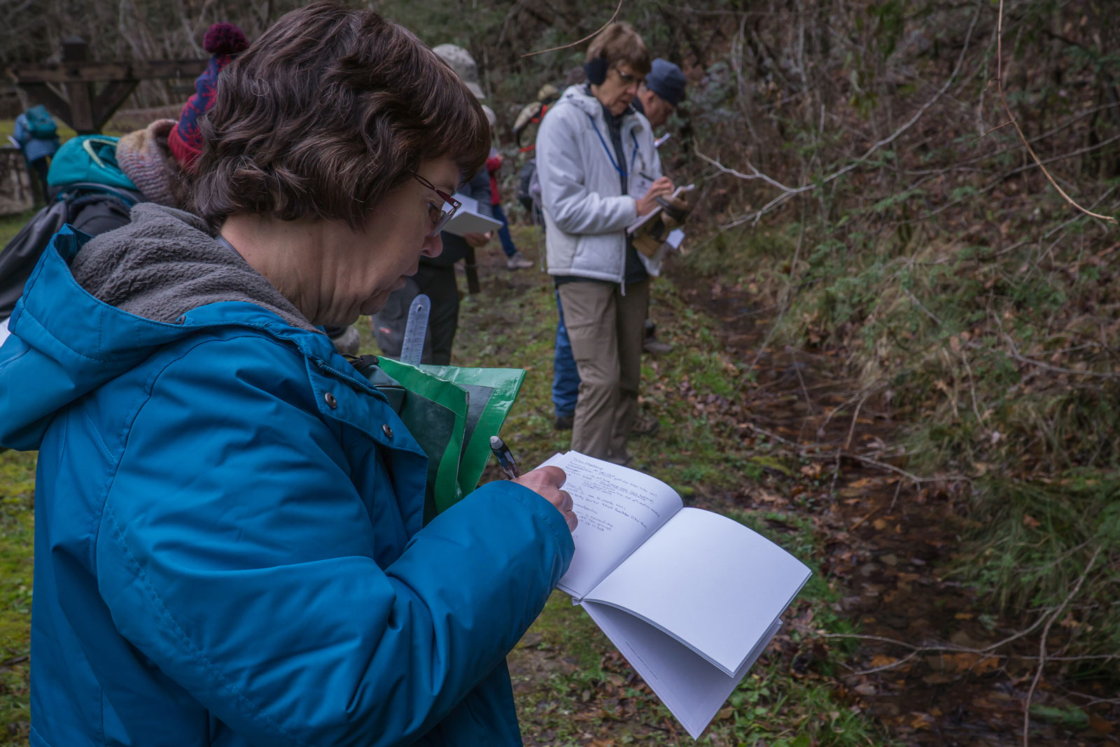 Naturalists observe a water source in the Smokies and make notes in their nature journals
