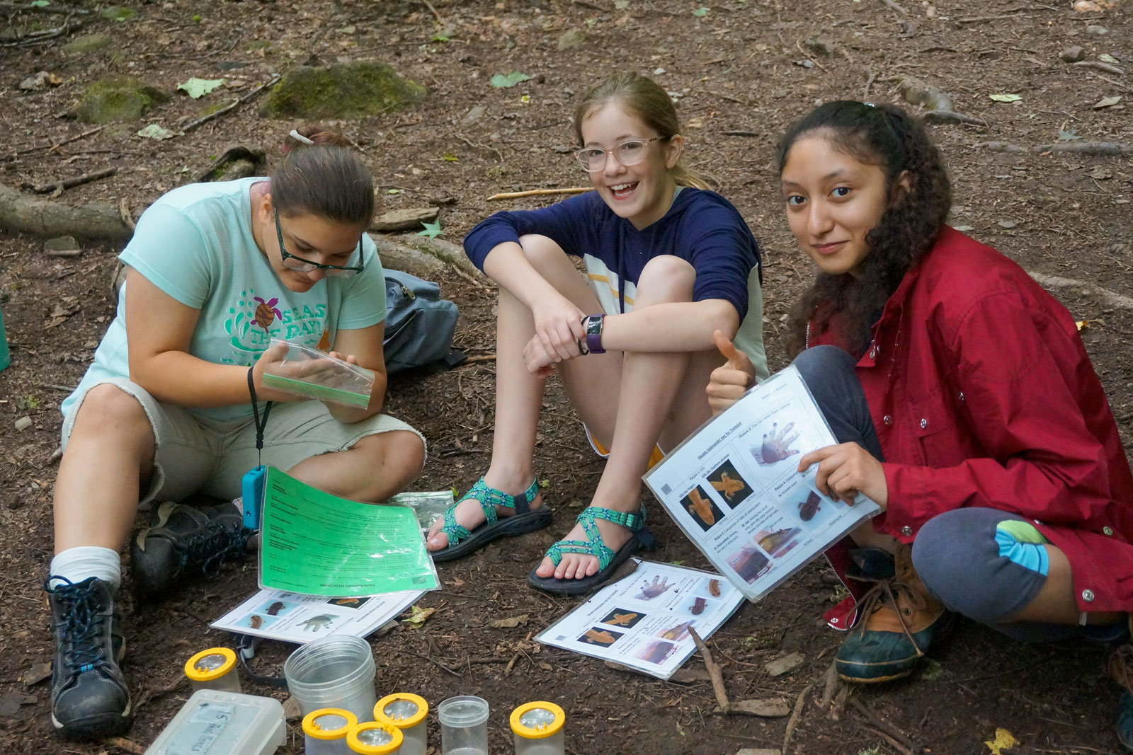 Girls in Science Camp participants study in the forests of the Smokies