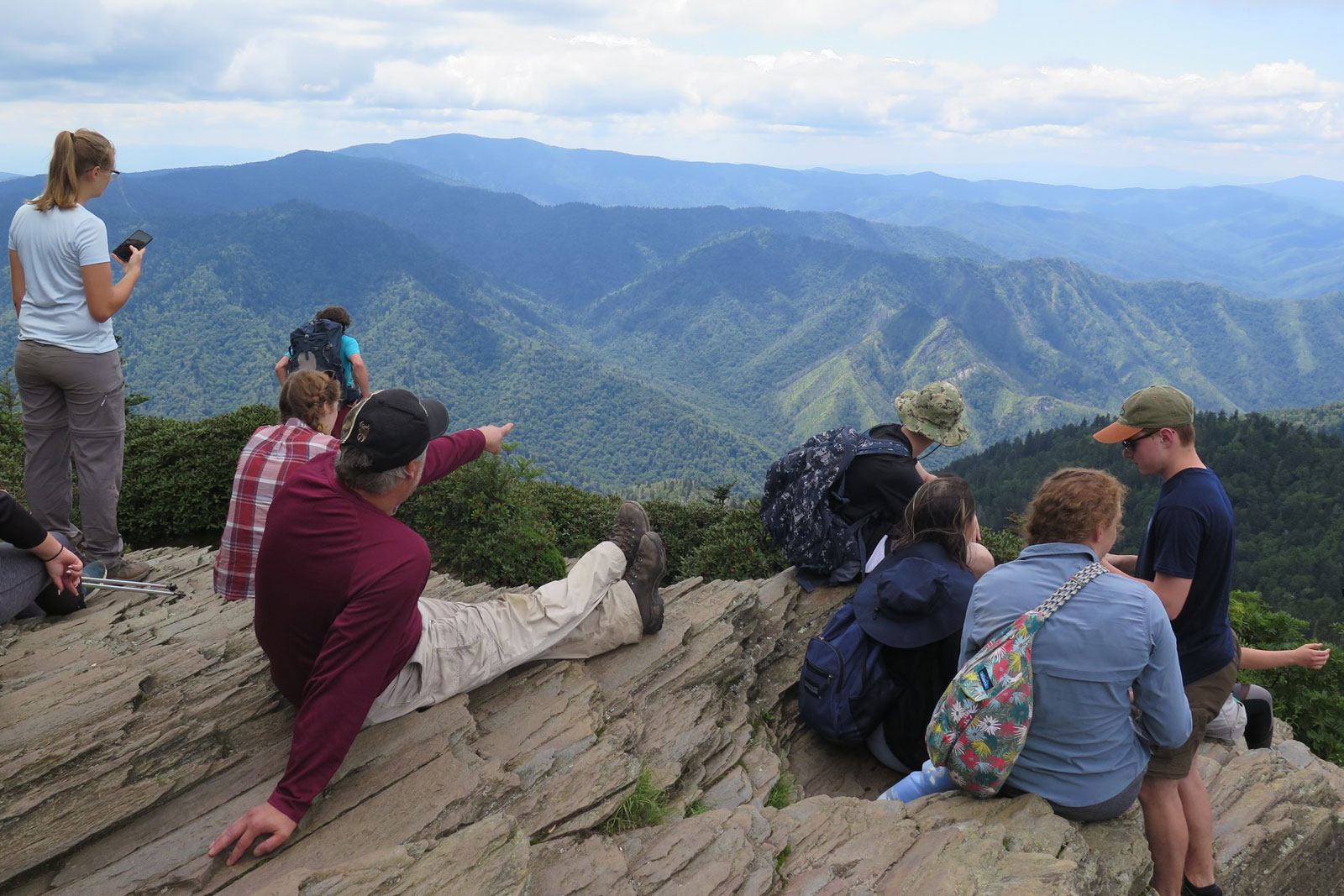 Students in the Great Smokies Experience take in the sights of the Smoky Mountains