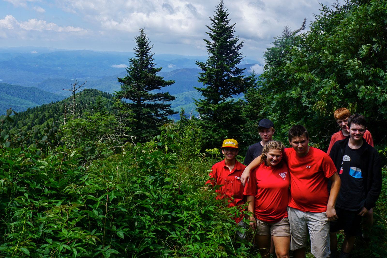 Campers of Teen High Adventure pose for a photo in the Smokies backcountry