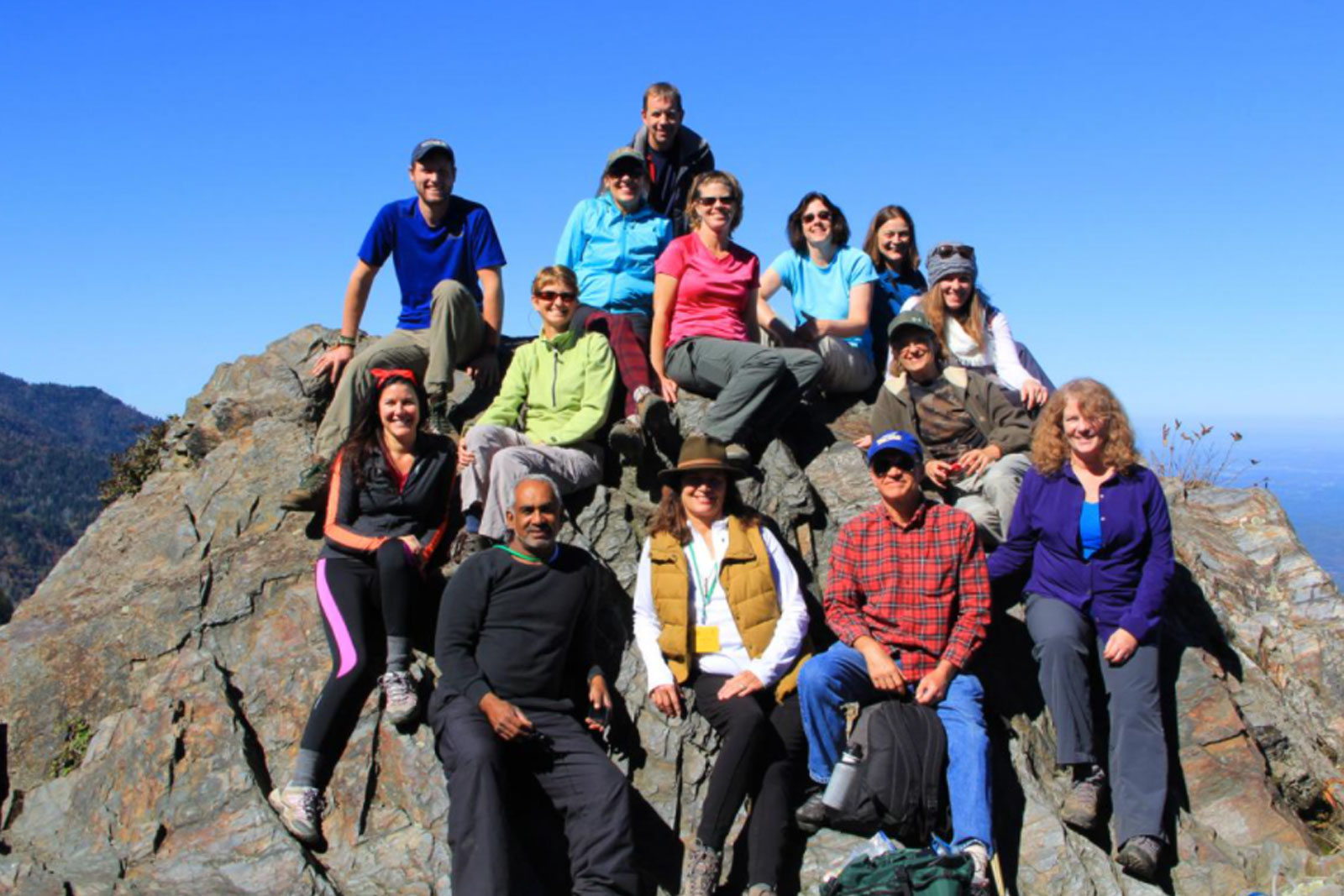 Members of a Sierra Club hiking trip pose for a photo