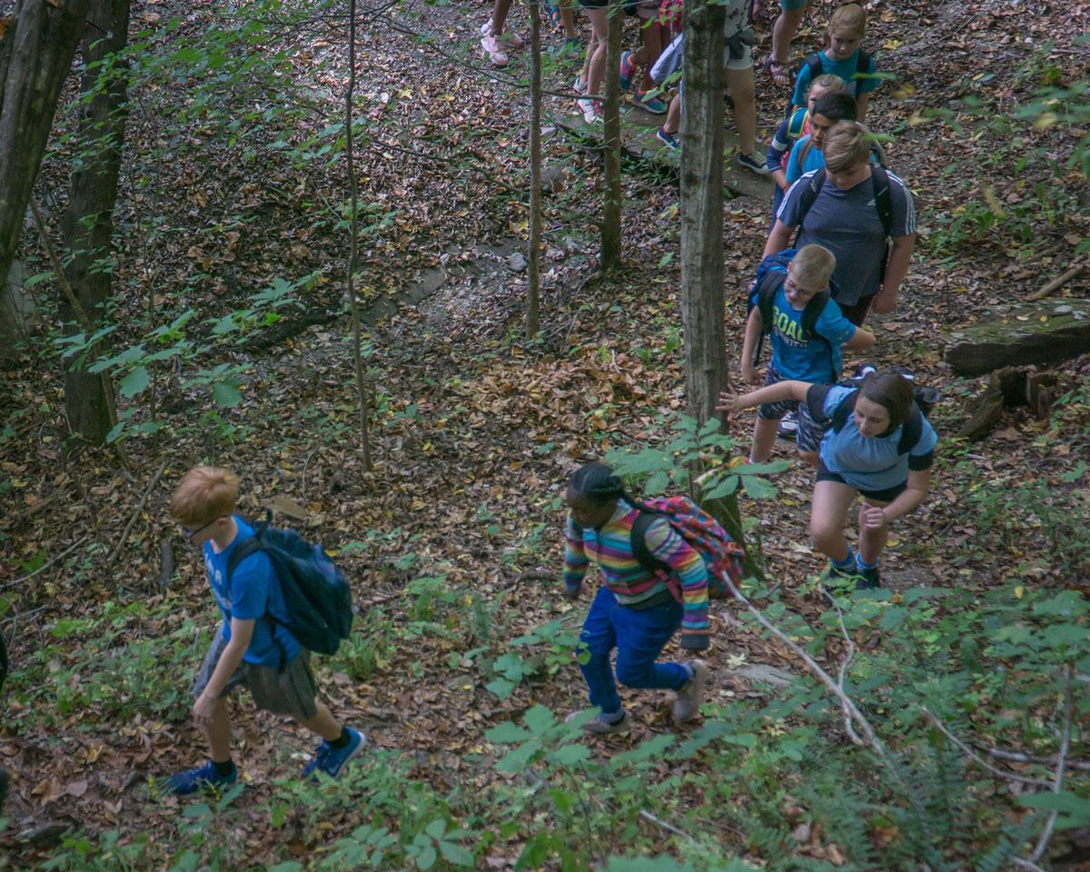 Elementary school students hike in the Smokies