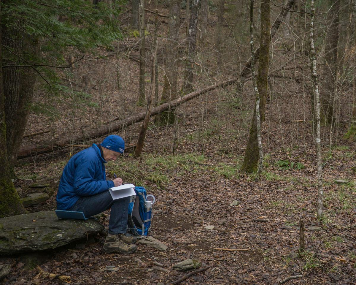 A student of Tremont's Naturalist Certification Program journals in the woods