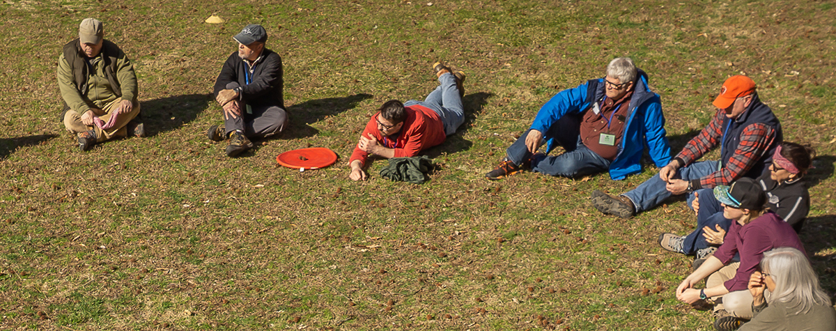 People sit and lay in the grass in a semi-circle, sharing nature.