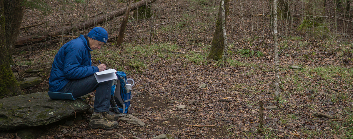 A man sits on a rock journaling during Tremont's Naturalist Skills course.